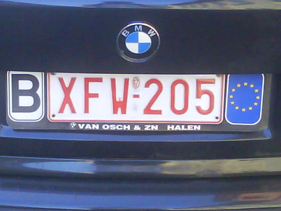belgium licence plate