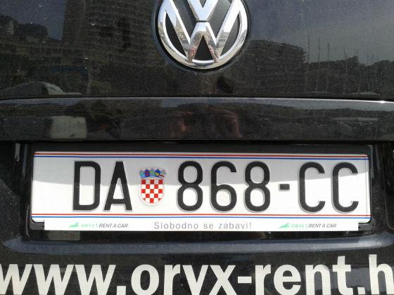 croatia licence plate