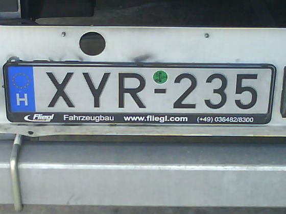 hungary licence plate