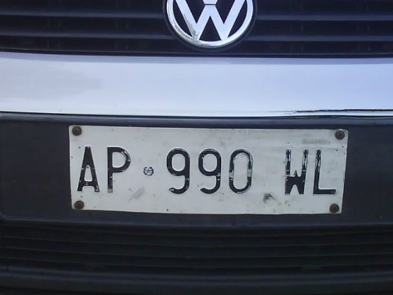italy licence plate