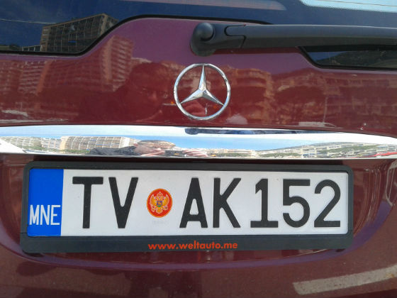 montenegro licence plate
