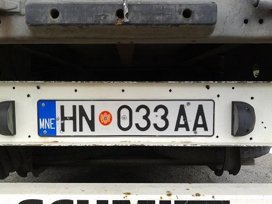 montenegro license plate