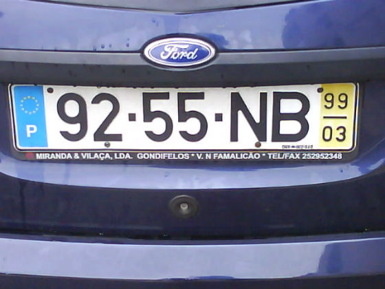 portugal licence plate
