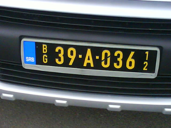serbia licence plate