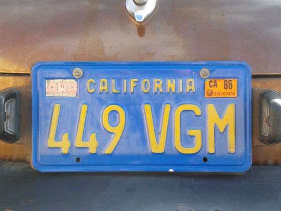 united states california licence plate