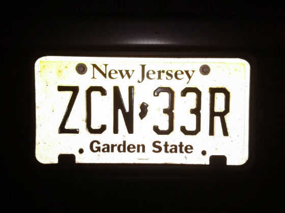 united states new jersey licence plate